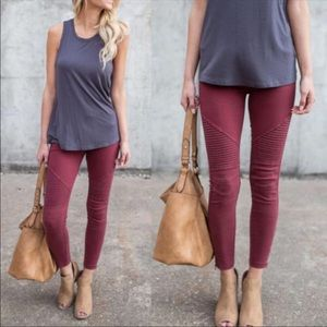 Burgundy Plus Moto Legging